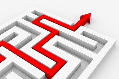Red arrow going through the maze.