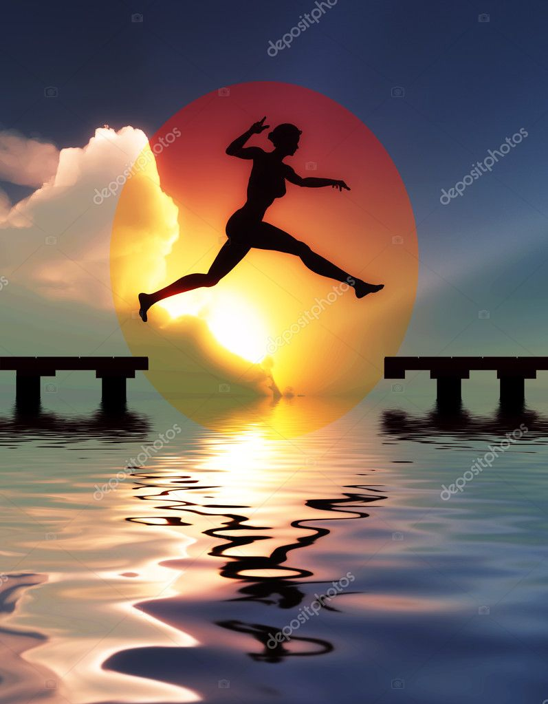 Woman jump through the gap