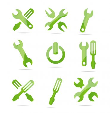 Abstract industrial symbols set green color isolated clip art vector