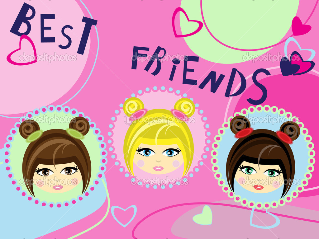 Three Best Friends Card Stock Vector Mammairina 7283286