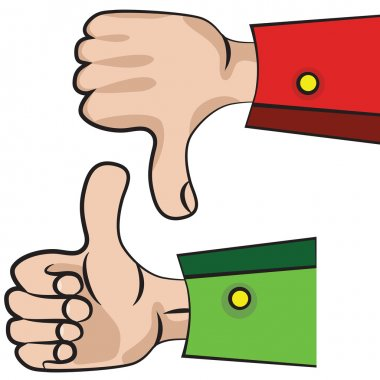 Hand gesture with thumb up.