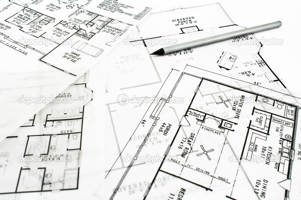 haus plan baupl ne mit bleistift stockfoto gavran333 7797791. Black Bedroom Furniture Sets. Home Design Ideas