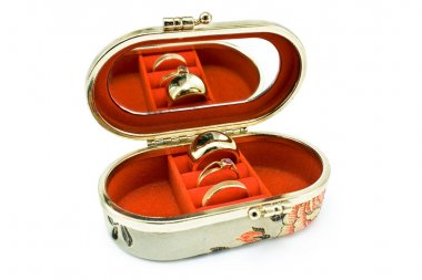 Silk box with golden rings