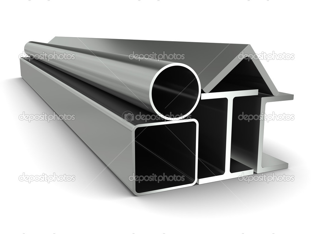 Metal pipe, girders, angles, channels and square tube on a white background