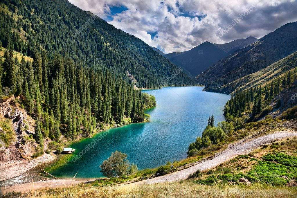 Mountain lake Kolsai in Kazakhstan
