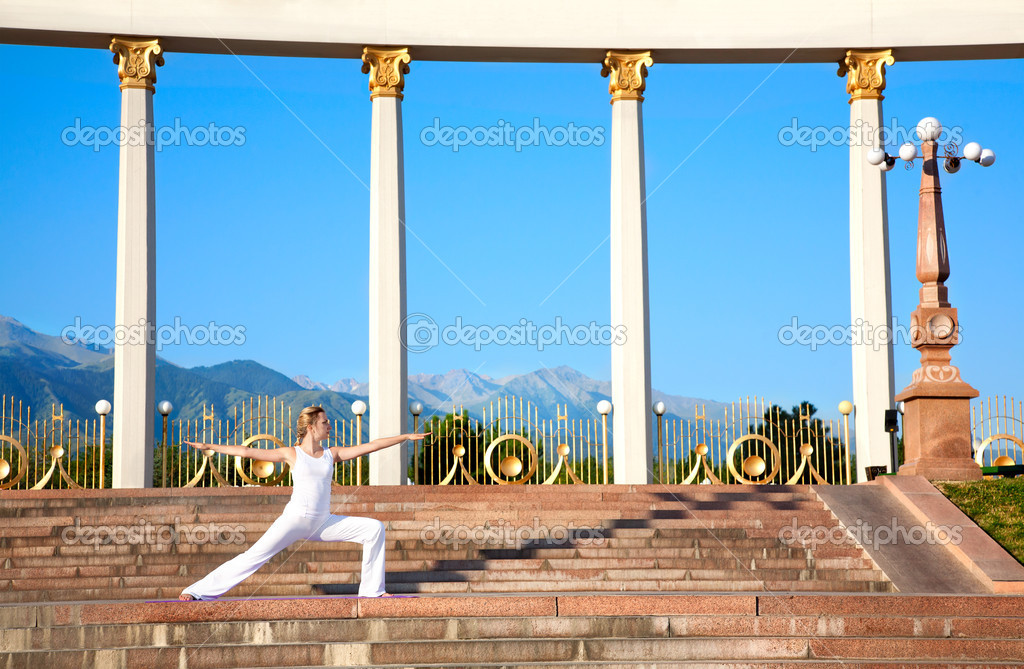 Urban Yoga virabhadrasana II warrior pose
