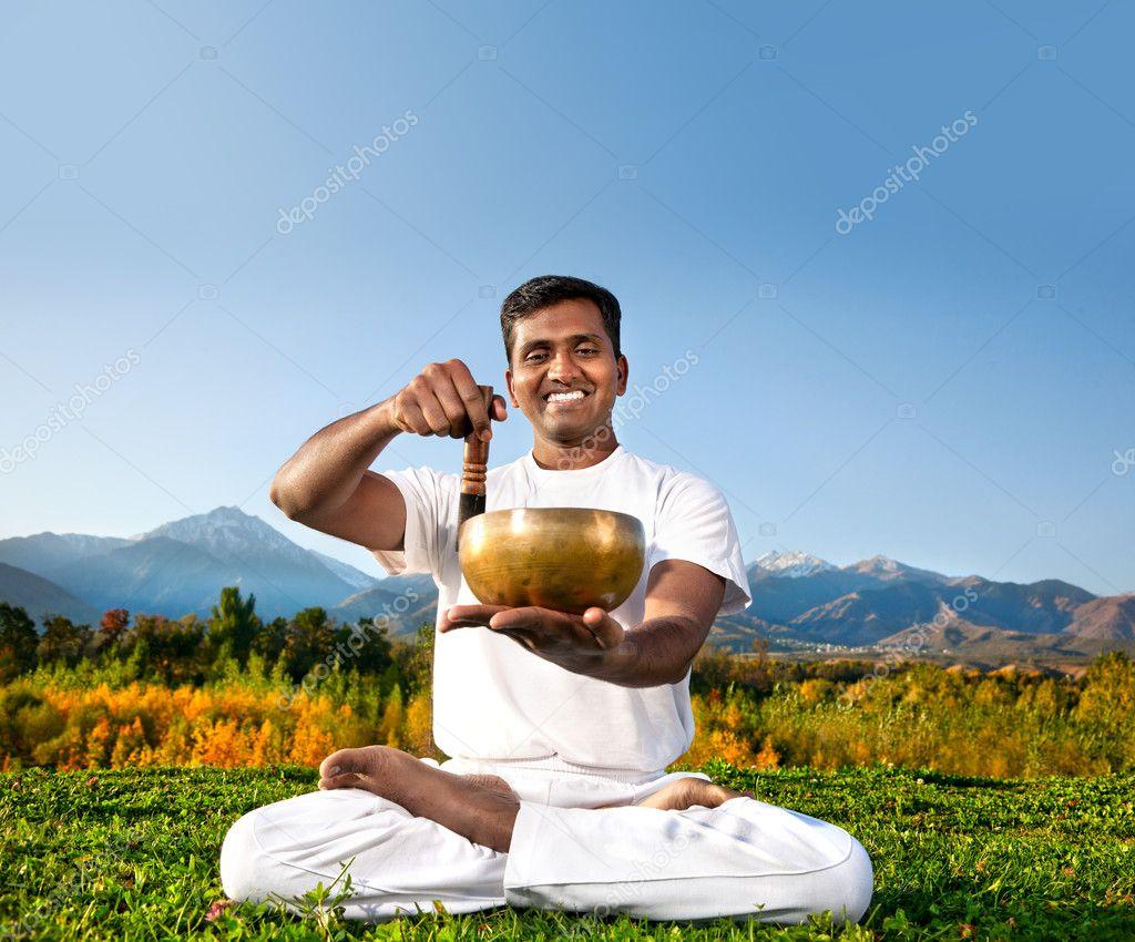 Yoga meditation with Tibetan bowl