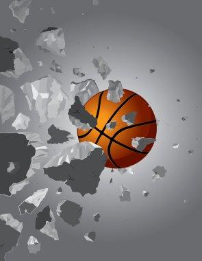 Basketball ball and the wall