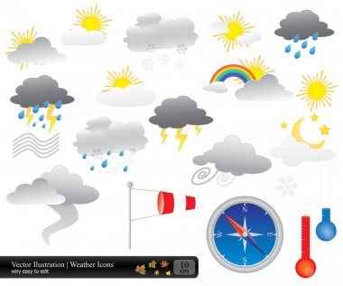 Vector weather icons pack in eps 10 format clip art vector