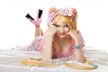 Young woman in lolita costume cosplay isloated