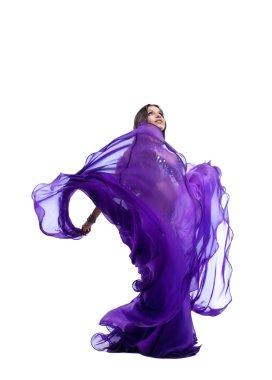 Arabia dancer posing with flying fabric