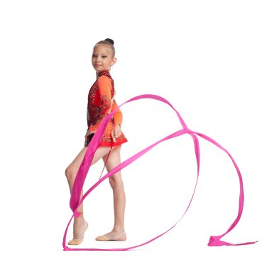 Young teenager girl stand with gymnastics ribbon