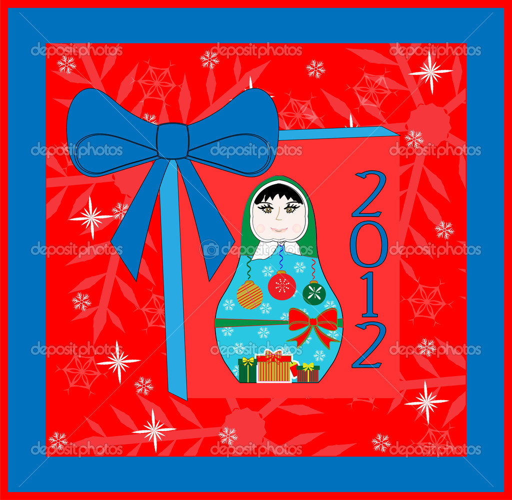 Happy New Year Card Design - Russian Doll -Vector