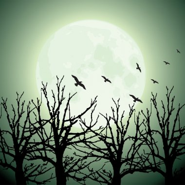 Big moon, trees and birds