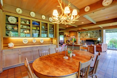 Dining room with a cowboy horse ranch.