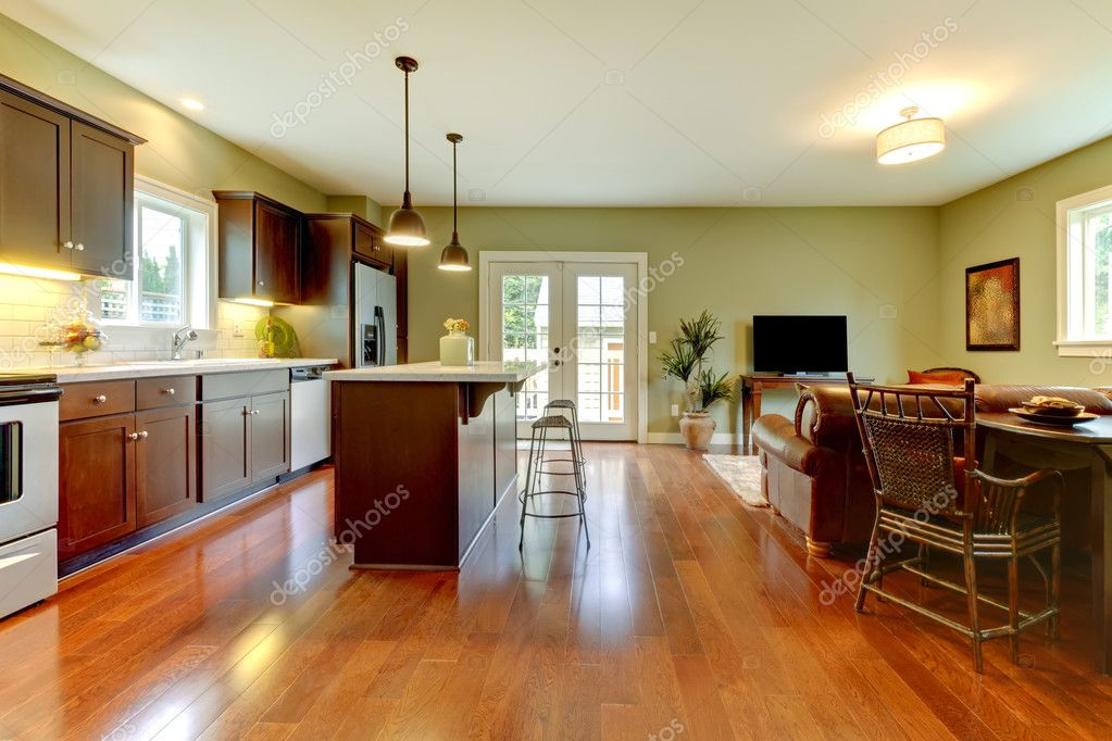 Modern New Brown Kitchen With Cherry Floor And Living Room