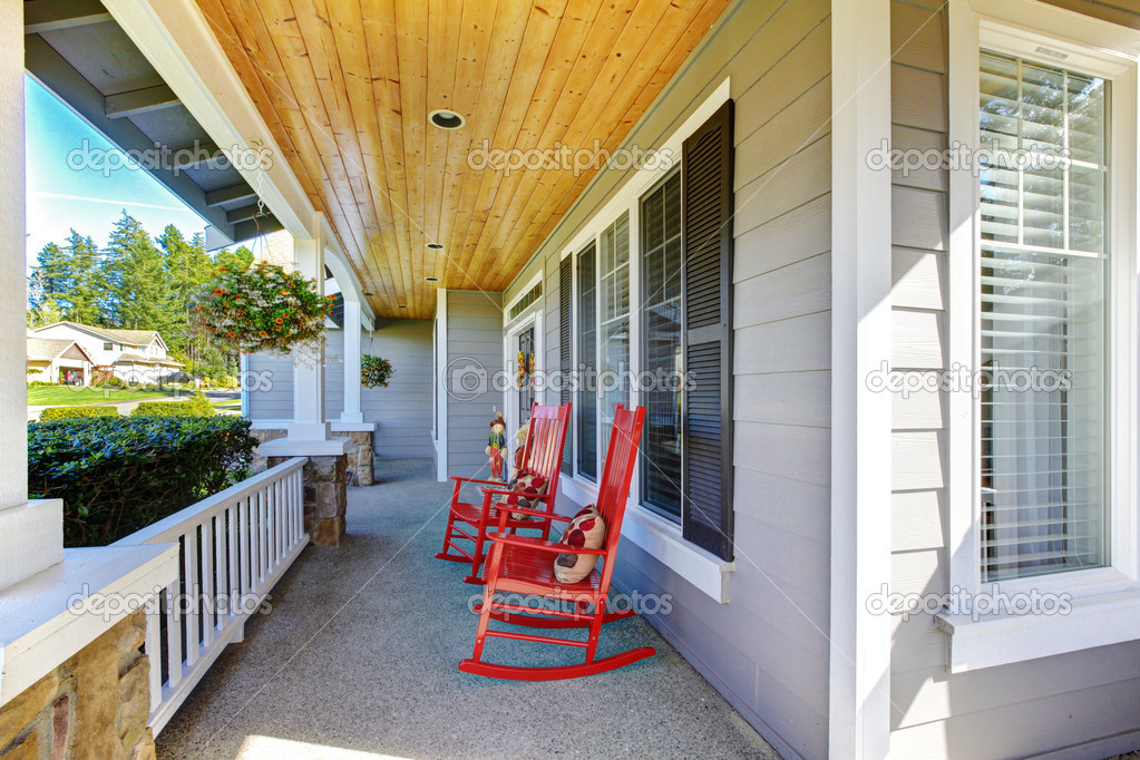 Front Porch With Rocking Chairs And Cover Stock Photo Iriana88w