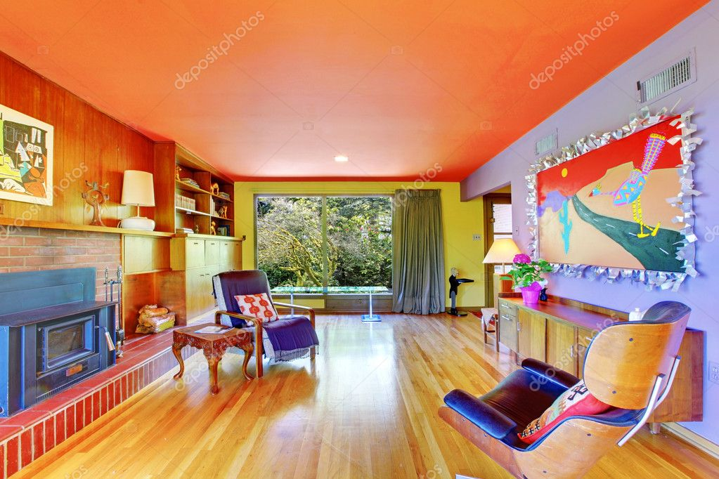 Bright with purple wall living room