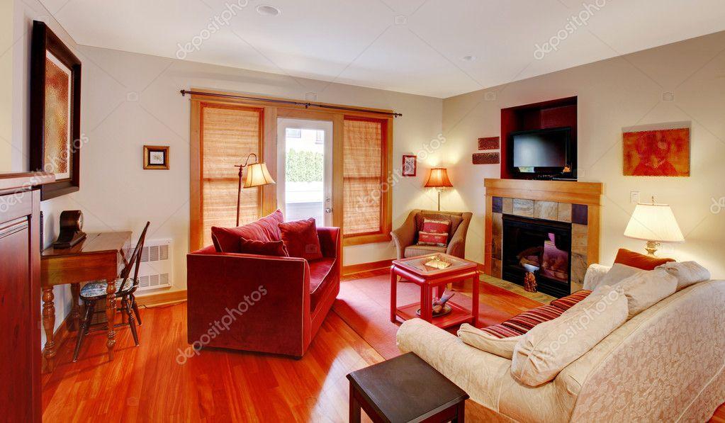 Pavimento Rosso E Bianco : Soggiorno con pavimento rosso e ciliegia u foto stock iriana w