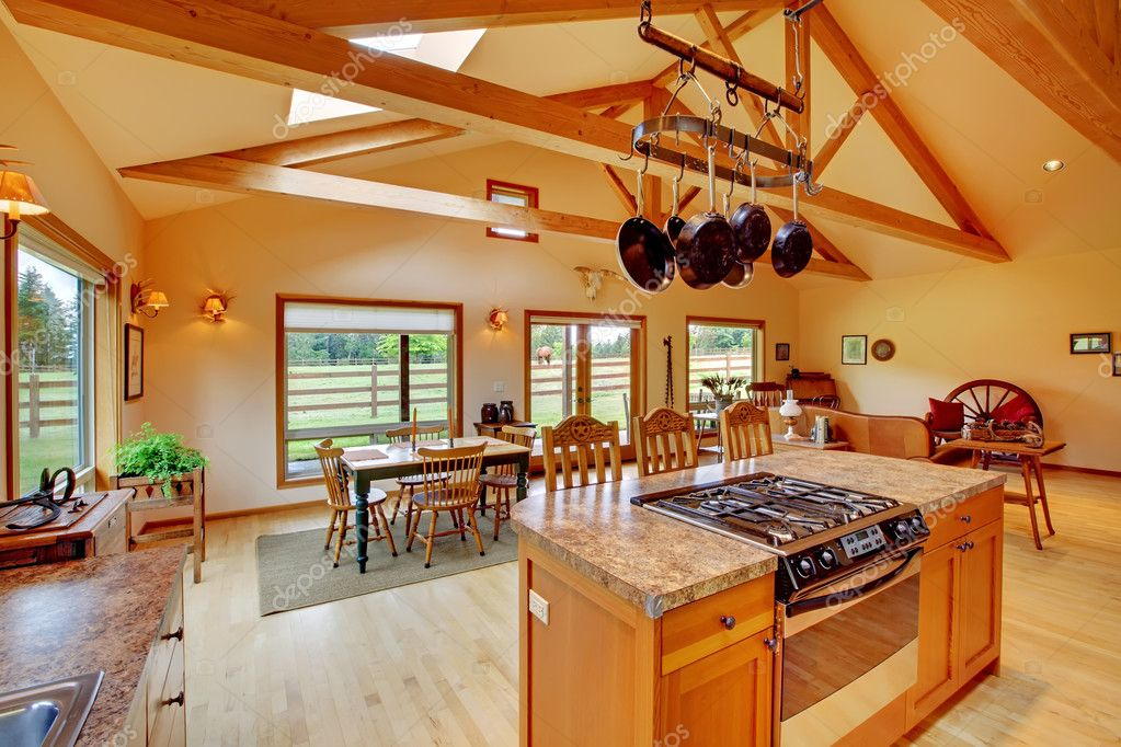Large living room on the horse ranch with the kitchen Stock