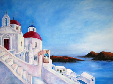 Painting of Greece. White City with water and island