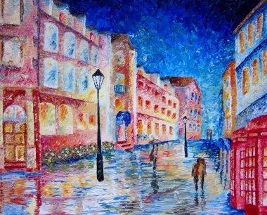 "Картина, постер, плакат, фотообои ""Лондон. Дождь. Улица. Живопись."", артикул 7601345"