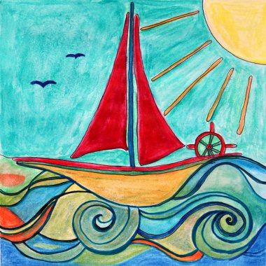Boat drawing. Sunny sea. Children art.