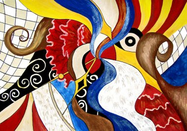 Abstract painting of Spanish themes. Art.