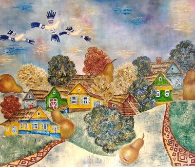 Slavic Russian-Belarussian village. Painting. ART.