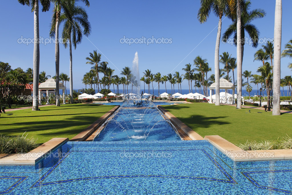 Main swimming pool alley in Grand Wailea resort, Maui. Hawaii.