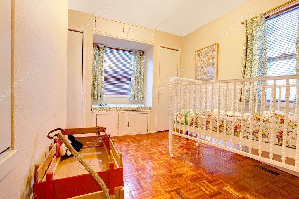 Enjoyable Baby Room With Crip And Window Seat Stock Photo Short Links Chair Design For Home Short Linksinfo