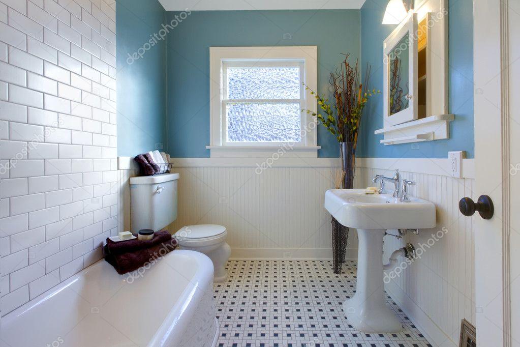 Antique luxury design of blue bathroom