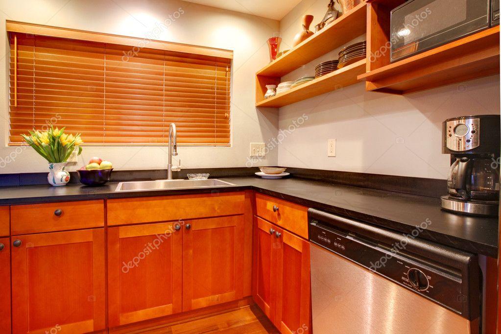 Cucina In Ciliegio Moderna : Cucina di lusso moderno ciliegio con macchia nera ans rubare u2014 foto