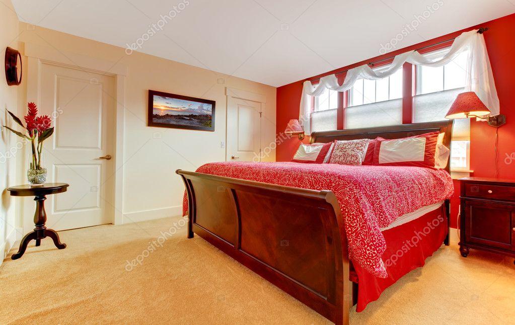 Gemütliche Romantische Schlafzimmer Rot U2014 Foto Von Iriana88w
