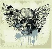 Grunge jahrgang Totenkopf emblem