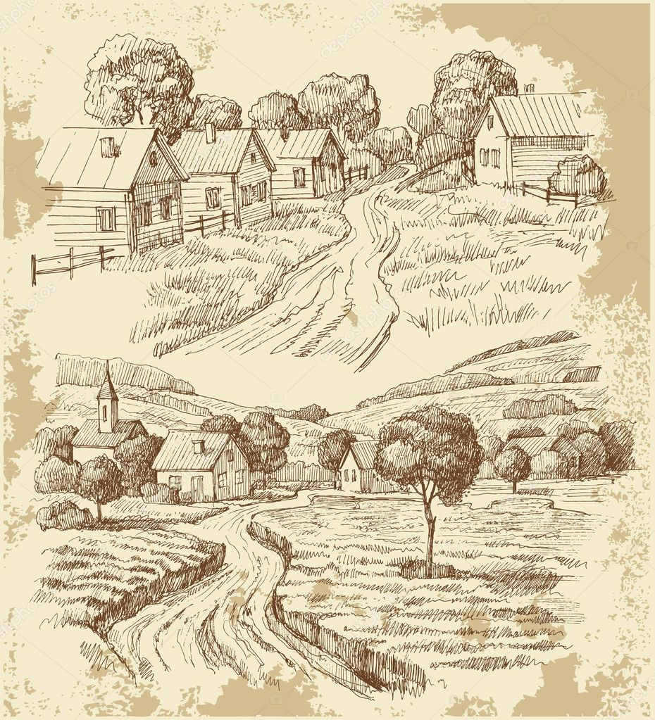 Village houses sketch with food