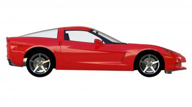 Side view of a red american sportscar