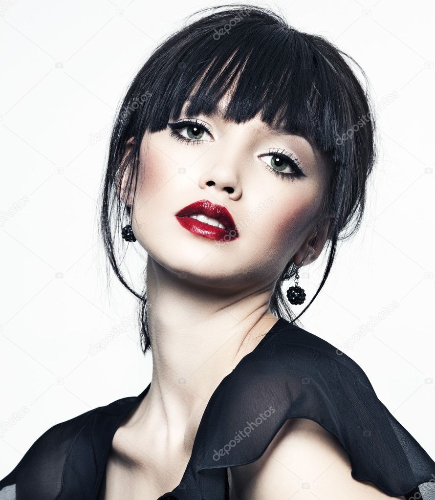 Beautiful Girl With Perfect Skin Red Lipstick And Black