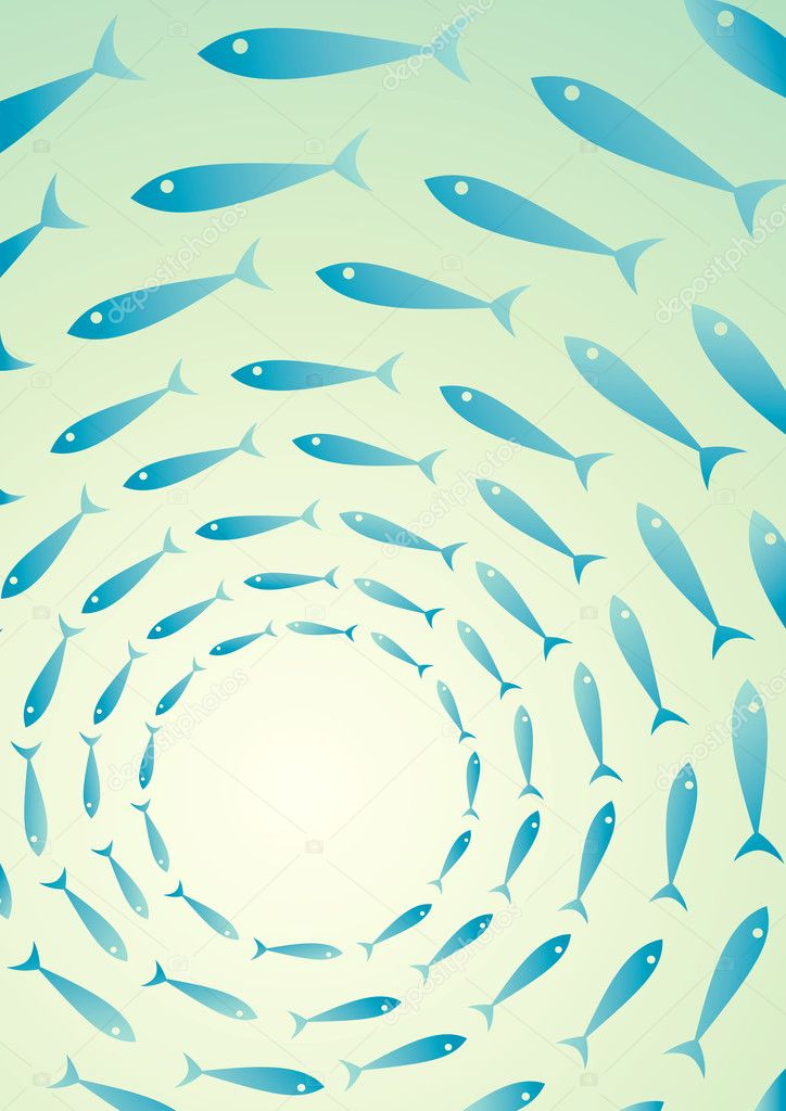 Flock of fish in the sea