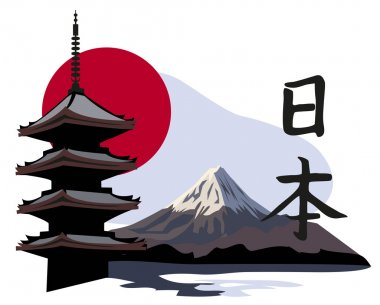 Pagoda Temple and Mount Fuji