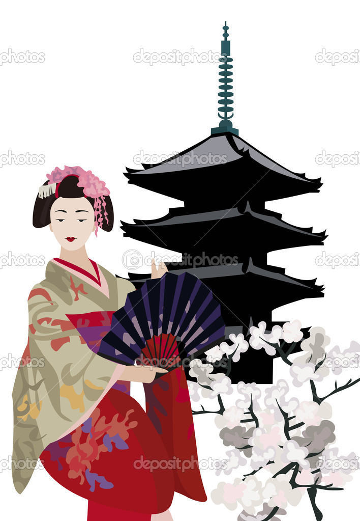 Geisha and Pagoda Temple