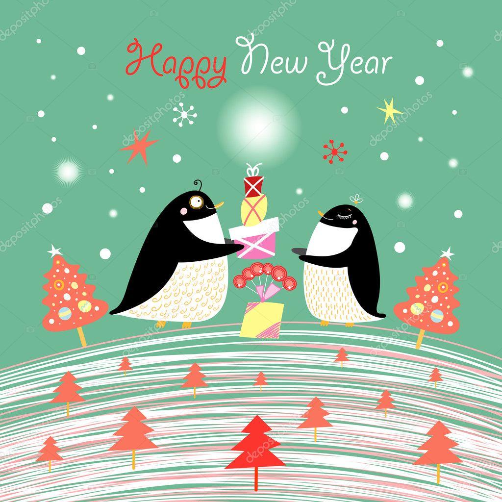 Поздравительная открытка с пингвинами