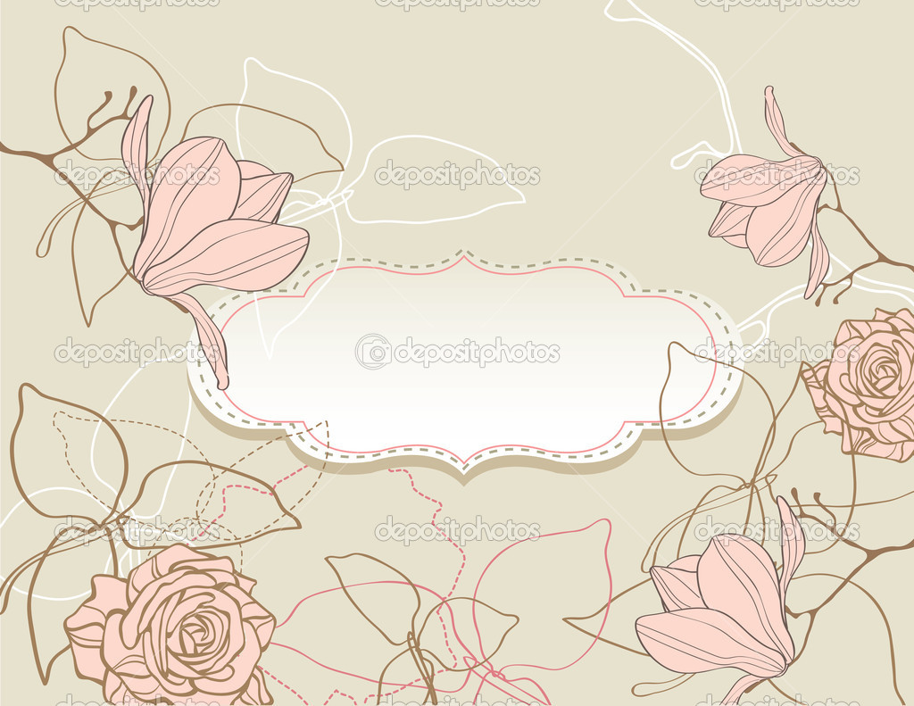 Background with flowers vintage style