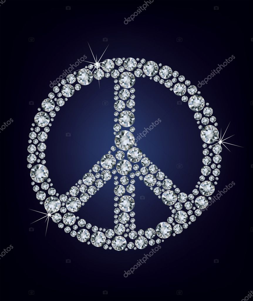 Peace sign made up a lot of diamonds