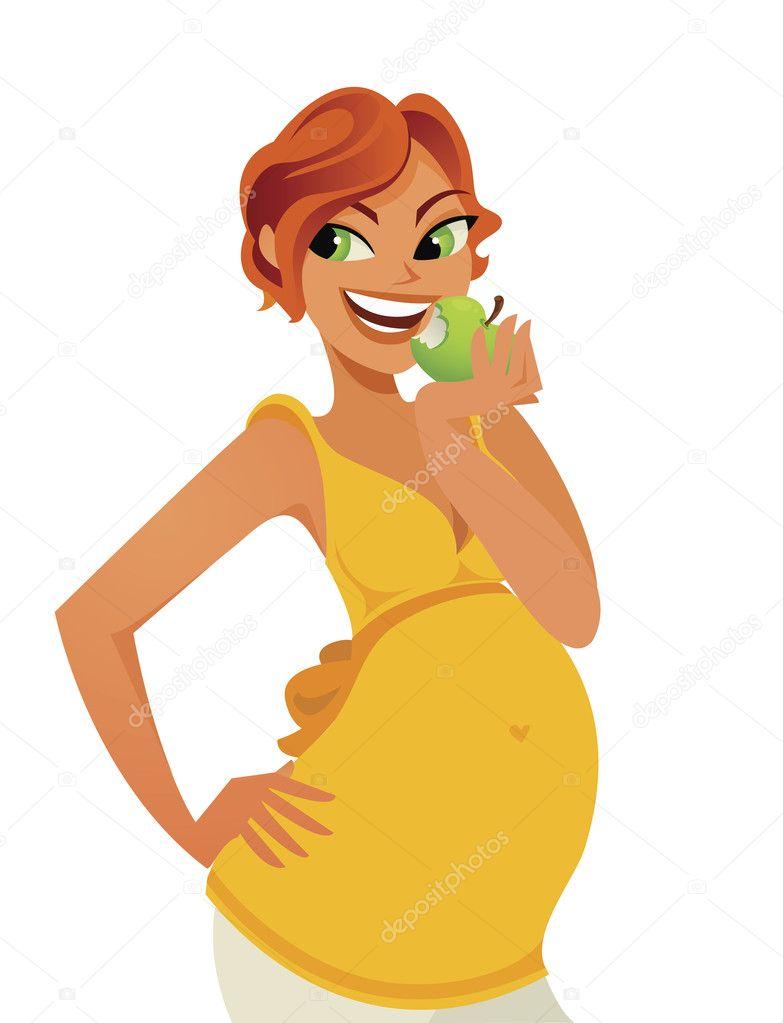 embarazada de morder en una manzana — Vector de stock ...