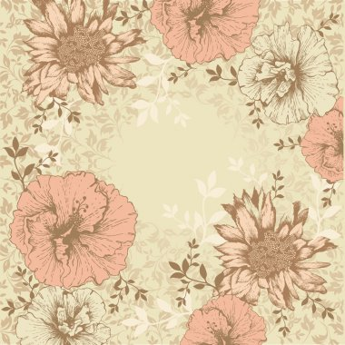 Vintage floral background with flowers