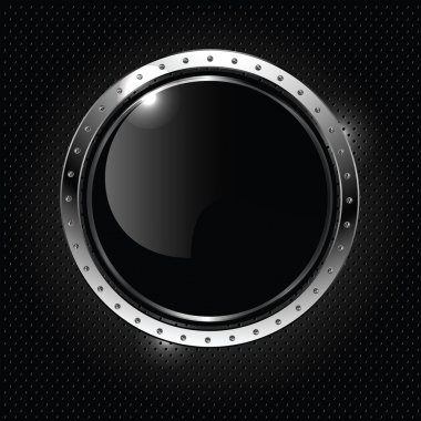 Basic RGBAbstract metallic background with round glossy banner, vector.