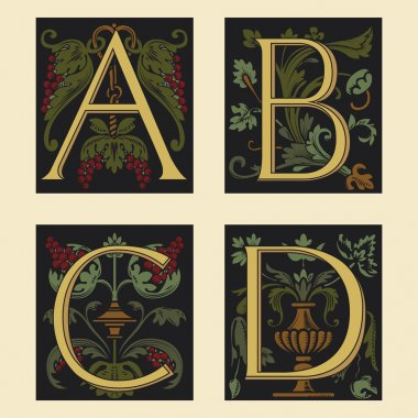 Sixteenth-Century alphabet A B C D