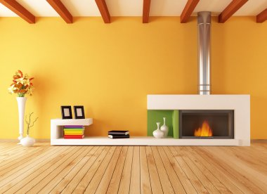 Empty interior with minimalist fireplace