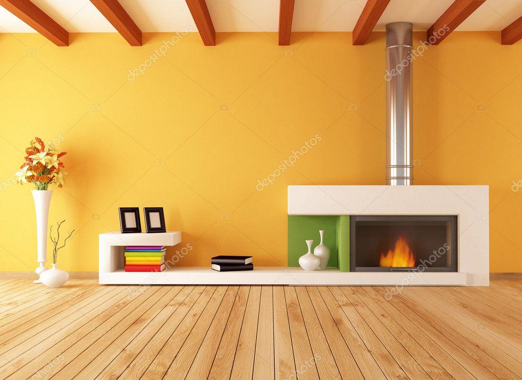 Leeg interieur met minimalistische open haard u stockfoto